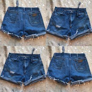 High waisted distressed denim jean shorts